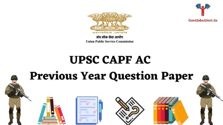 UPSC CAPF AC Previous Year Question Paper